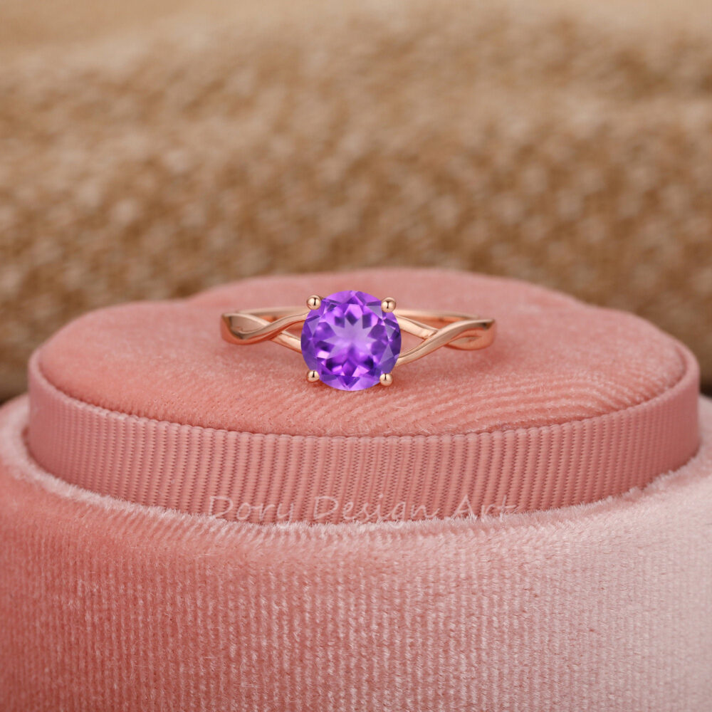 Special Cross Band Gemstone Ring, Round Cut 7mm Natural Amethyst Engagement Rose Gold Solitaire Wedding Classic Prong Set Ring