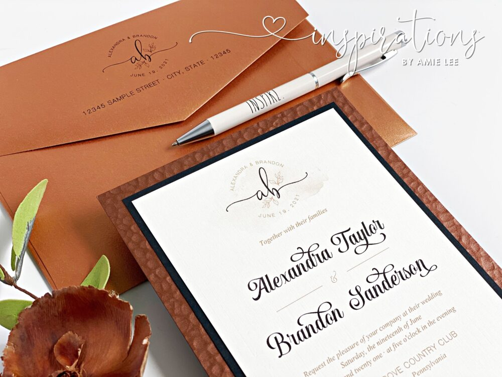 Copper Wedding Invitations, Classic Formal Barn Wedding, Rustic Elegance Antique Gold, Copper, Event