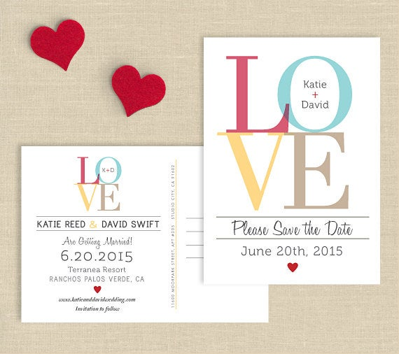 Love Wedding Save The Date Postcard, Double Sided Date, Custom Colors, Printed Or Diy Printable