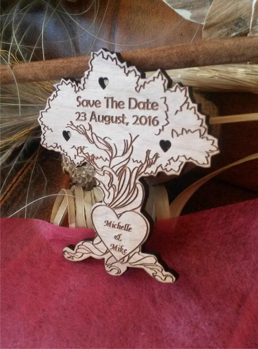 Rustic Save-The-Date Magnet, Wooden Save The Date Wedding Magnets, Engraved Save Date Postcard, Tree Dates, Unique
