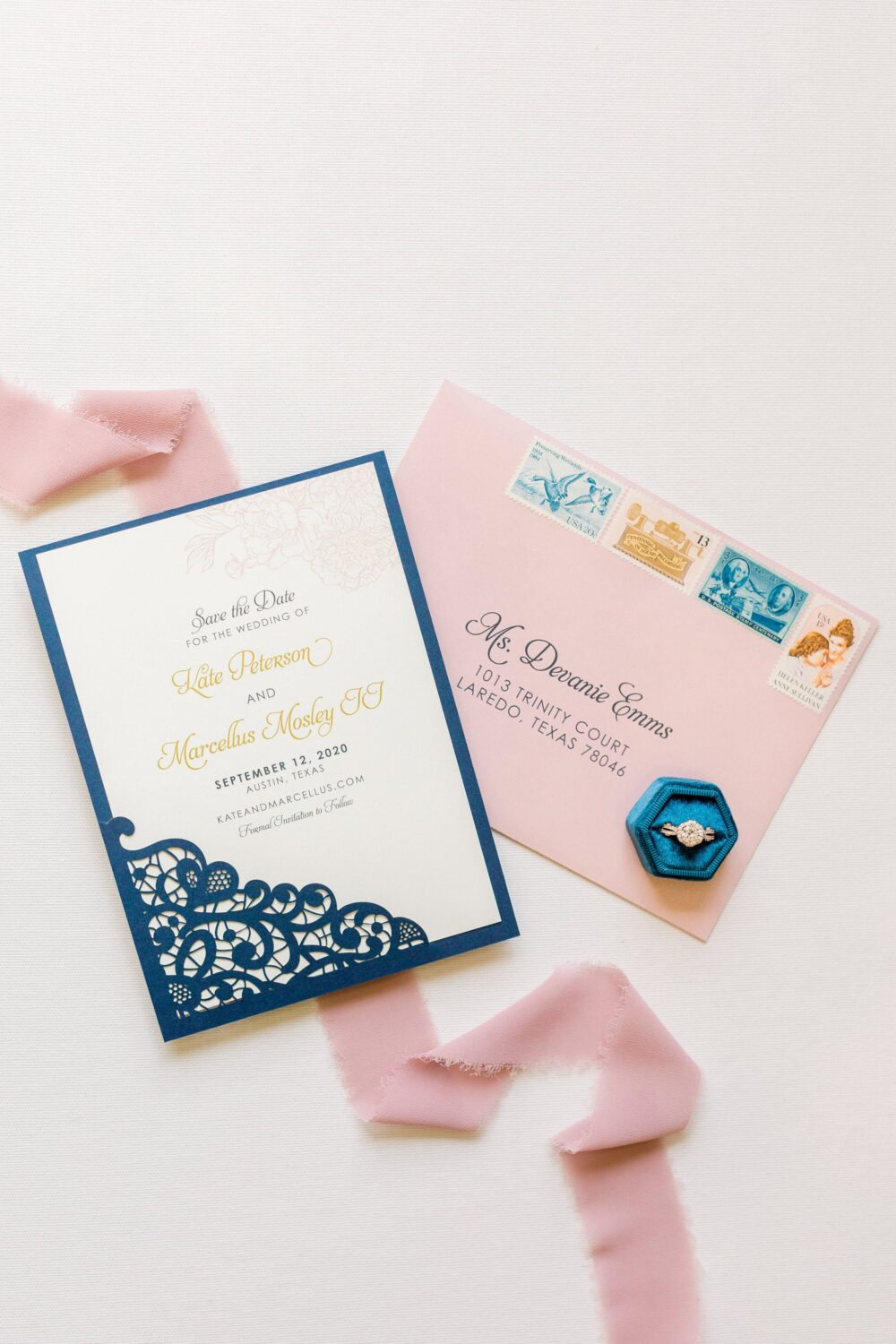 Elegant Lace Laser Cut Wedding Save The Date in Navy Blue, Blush Pink & Gold With Envelopes - Different Colors Available