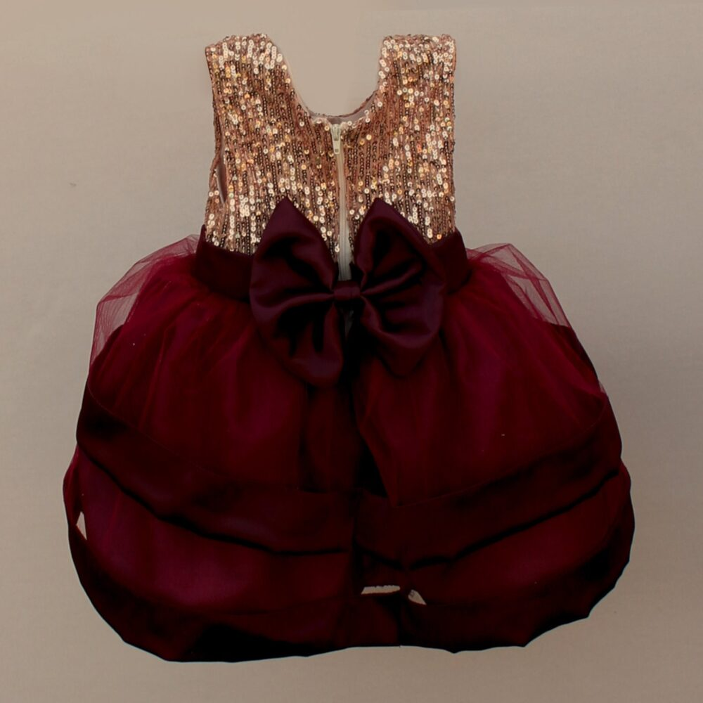 Christmas Dress For Girl, Toddler, Baby Burgundy & Gold Dress, Deep Red Holiday Party Photo