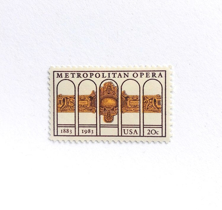 10 Metropolitan Opera Postage Stamps // Unused 20 Cent Vintage Gold Wedding Postage New York