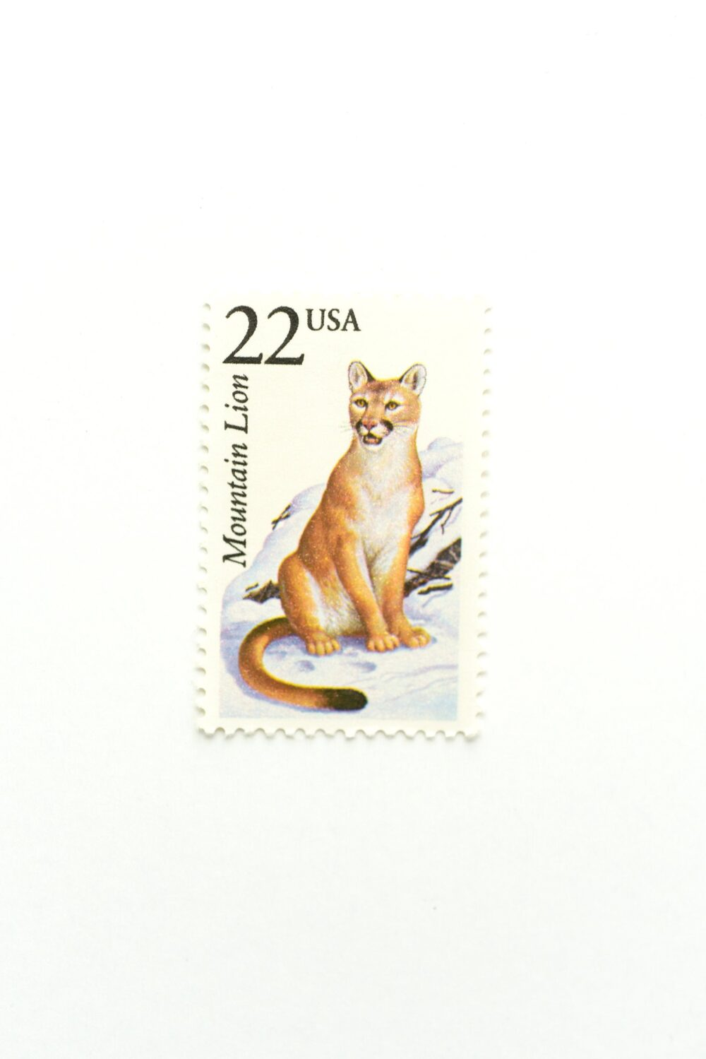 5 Mountain Lion Postage Stamps // Unused 22 Cent North American Wildlife Wedding Postage Vintage Nature
