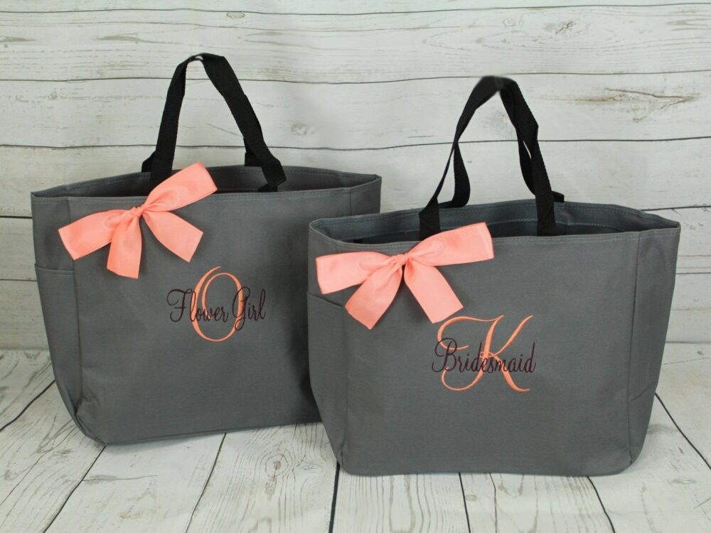 Set Of 8 Personalized Bridesmaid Gift Tote Bags Tote, Bridesmaids Gift, Monogrammed | Ess1