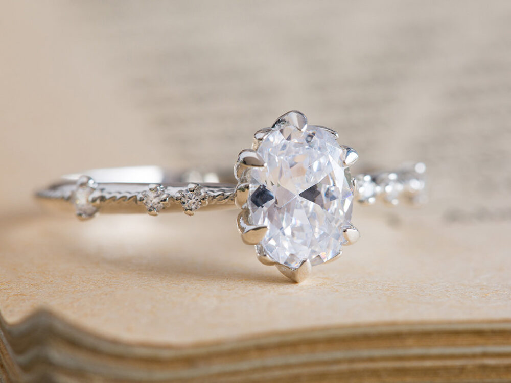 Moissanite Engagement Ring, Diamond Forever One Charles & Colvard 18K Moissanite Ring