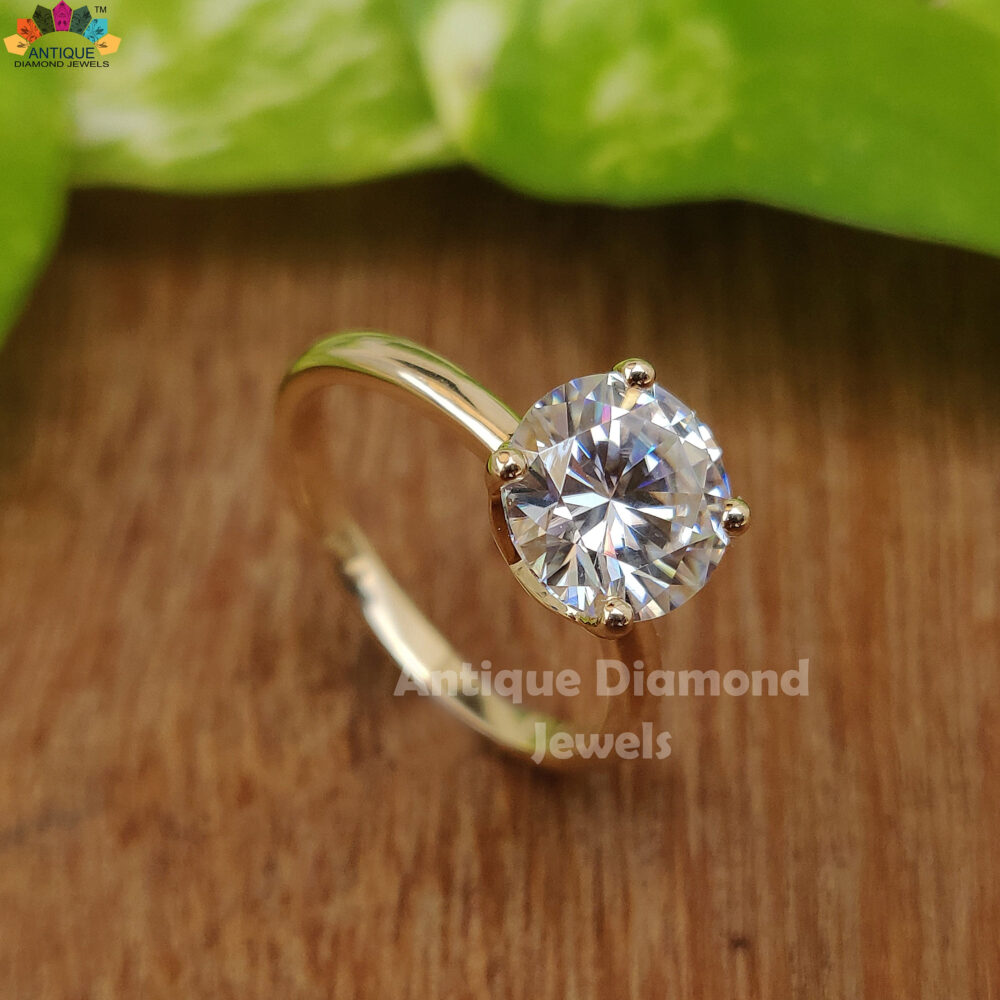 8.0 Mm Round Colorless Moissanite Ring, Engagement Wedding Forever One Solitaire 14K Yellow Gold Bridal