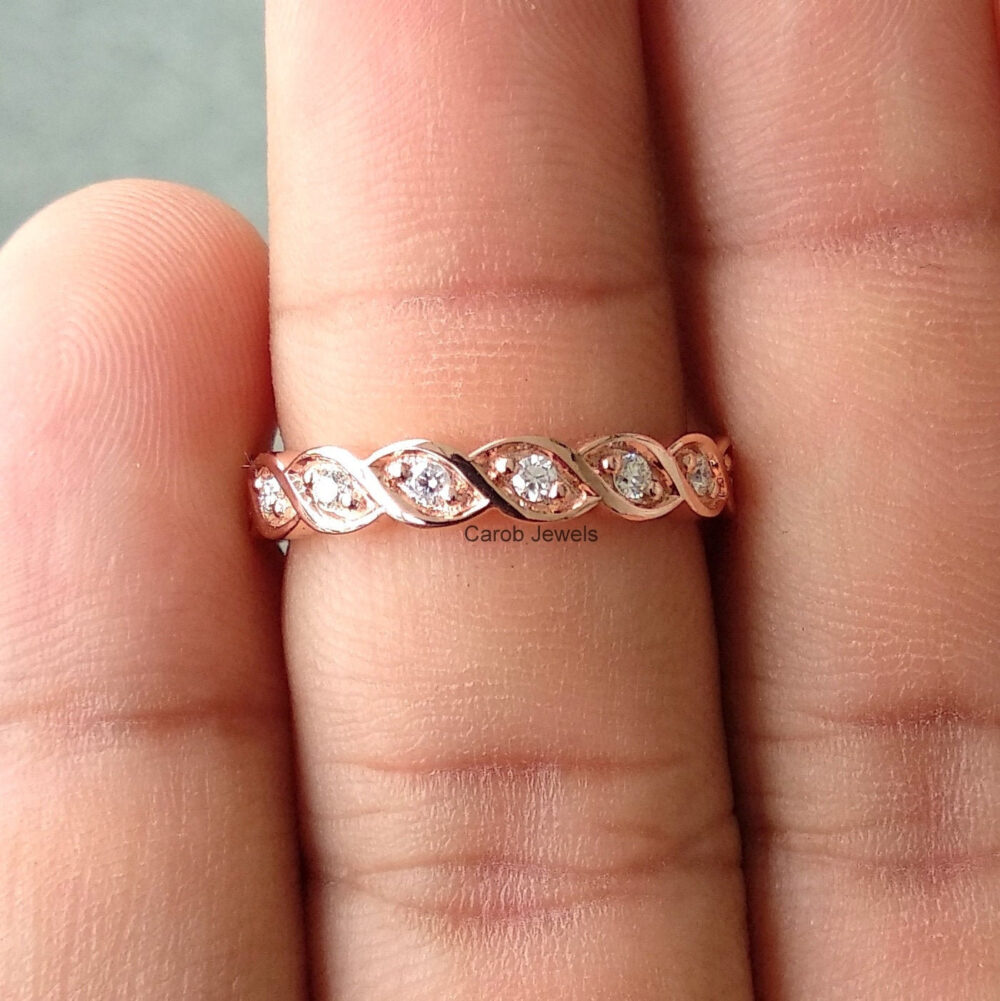 1.70 Mm Round Cut Moissanite Eternity Band, Infinity Twisted Stacking Wedding Band , 10K/14K 18K Rose Gold Engagement Ring, Ring For Her