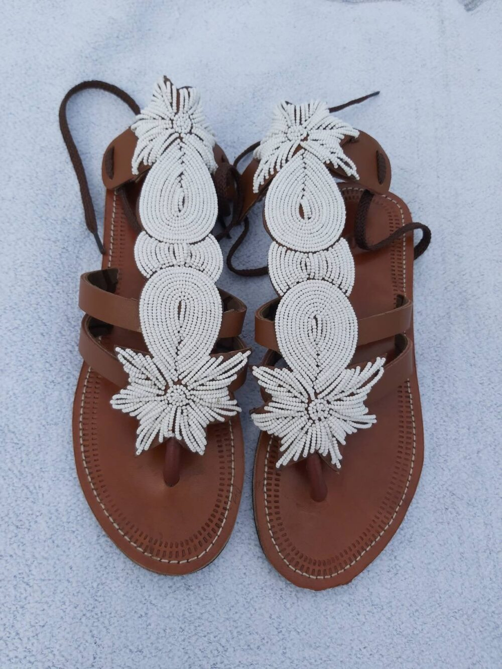White Beaded Gladiator Sandals, African Flat Shoes Women, Leather Sandals For Wedding Shoes, Summer Ladies, Beach Sandal