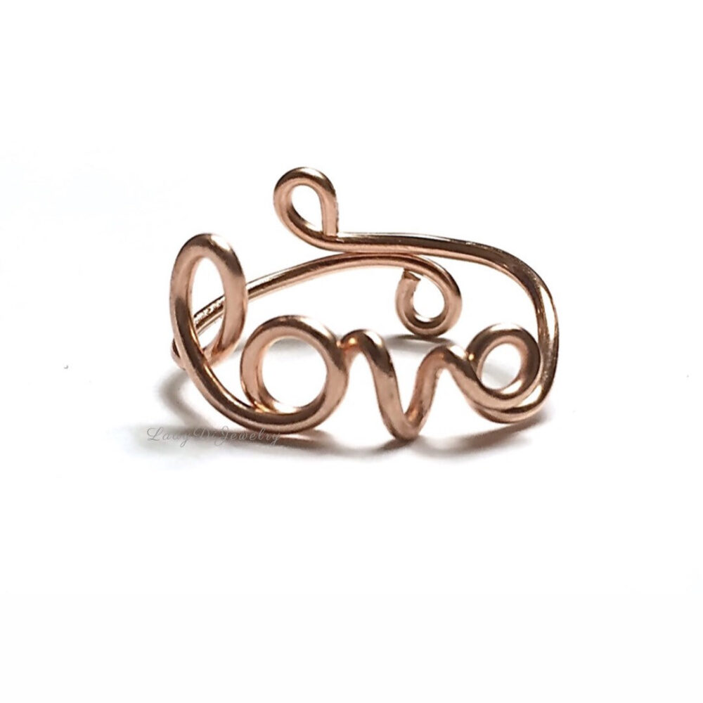 Love Ring -Script /Cursive -14K Gold /Rose Gold-Filled /sterling Silver -Couples Girlfriend Romantic -Name -Adjustable Christmas