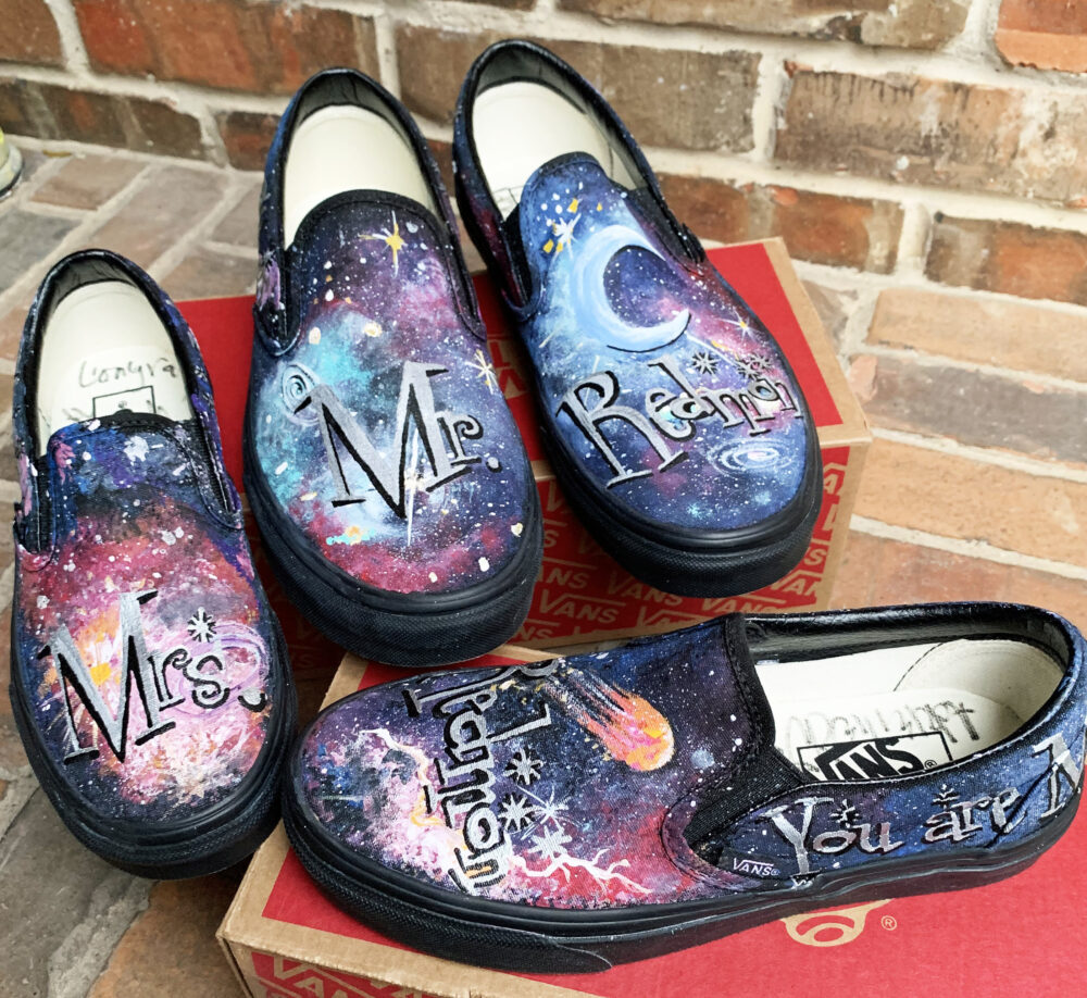 2 Pair Custom Vans Cosmic Galaxy Shoes For Bride & Groom, Wedding Party Slip On Personalized Monochrome Black Painted Cosmos His Hers