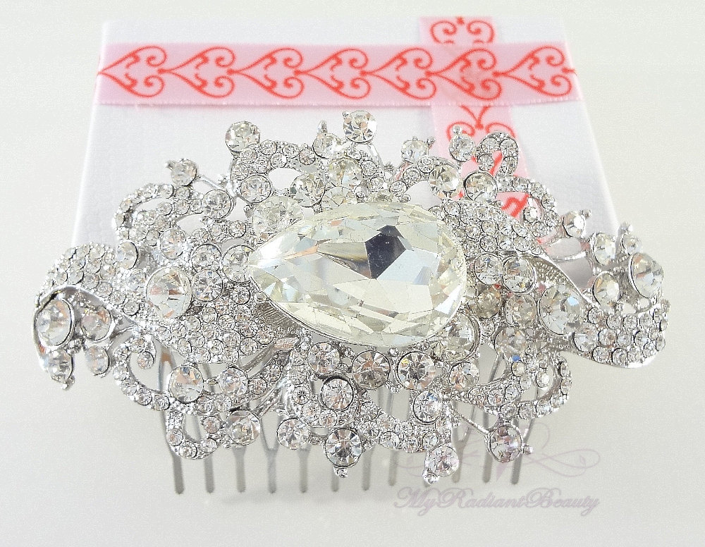 Bridal Comb, Wedding Swarovski Unique Beautiful Crystal Rhinestone Hair Bridesmaid Comb, My Radiant Beauty - Hc0018