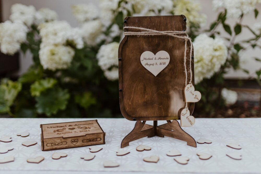 Personalized Wedding Mason Jar Guest Book Drop Box Signature Guestbook Alternative Top
