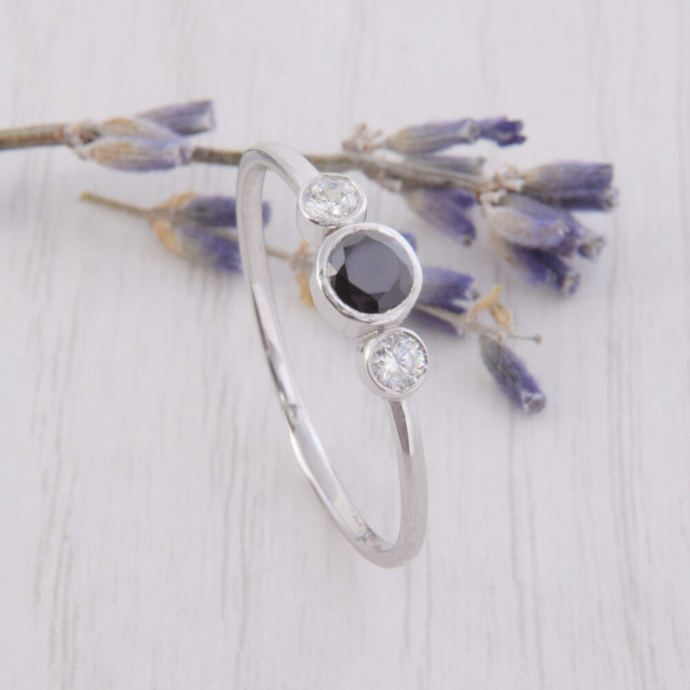 Simple & Dainty Bezel Cut Black Stone Silver Womens Promise Ring, Unique Minimalist Delicate Ring For Her, Womens Cz