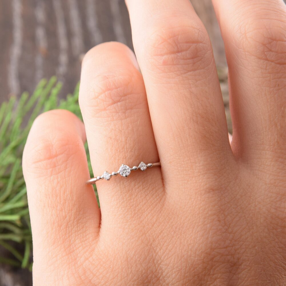 14K Solid White Gold Delicate Promise Ring For Her, Small & Dainty Womens Ring, Womens 3 Stone Engagement Ring, Simple