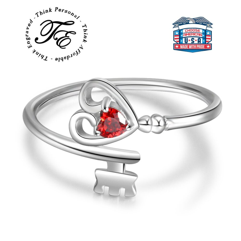 Dainty Womens Promise Ring - Lock & Key Promise Ring- To Heart Ring With Stone Color Choice