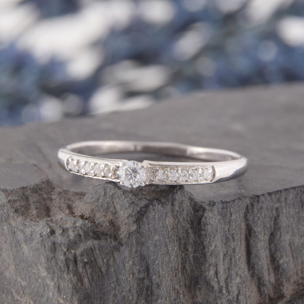 Dainty Silver Promise Ring For Her, Unique Womens Ring, Small Simple White Topaz