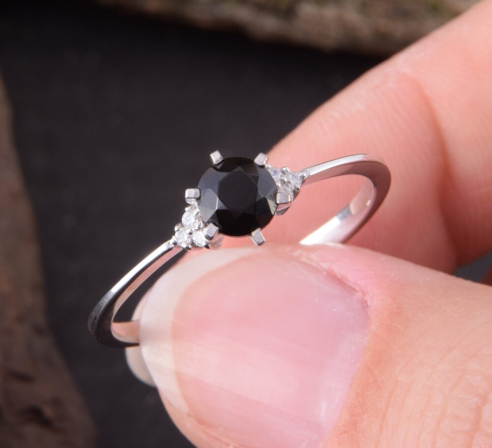 14K White Gold Black Onyx Promise Ring For Her, Small & Dainty Womens Ring, Womens Black Engagement