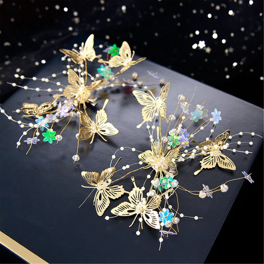 Golden Butterfly Bridal Hair Vine For Bride Wire Hairpiece Wedding Hair Accessory Floral Hairband