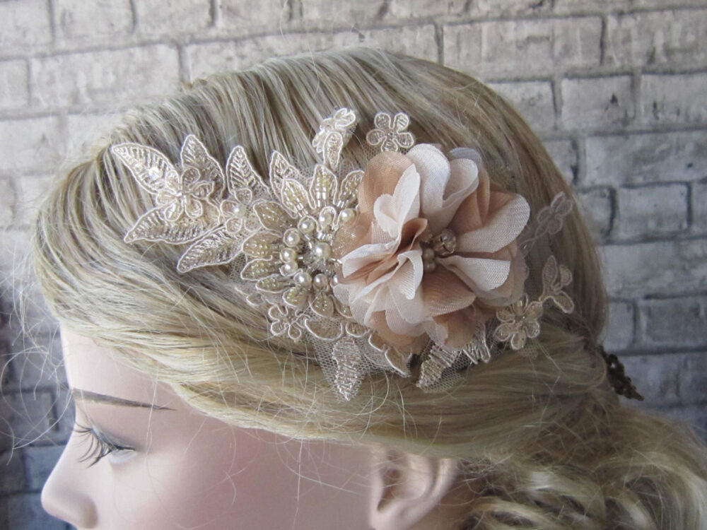 Beige Lace Comb/ Champagne Floral Lace Comb, Pearl Comb, Bridal Accessories, Wedding Hairpiece