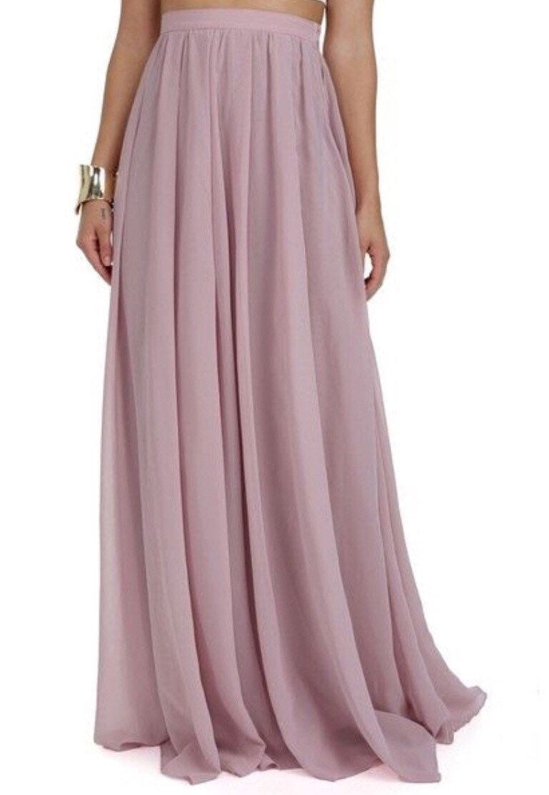 Long Chiffon Skirt, Wedding Bridesmaid Dress, Maxi Beach Custom Formal Dresses For Women
