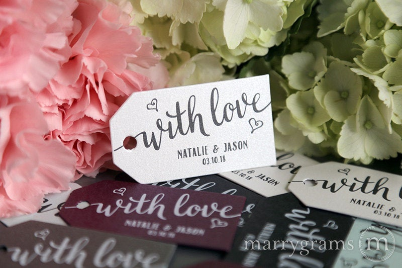 Wedding Favor Tags - With Love Custom Personalized Names & Date Perfect For S'mores, Chocolate, Dessert Koozie Thanks Bulk Listing