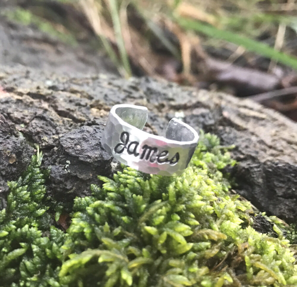 Hand Stamped Personalized Adjustable Name Ring - Jewelry Handstamped Family Children Mom Mother Adjustable Kids Infinity Cross Love