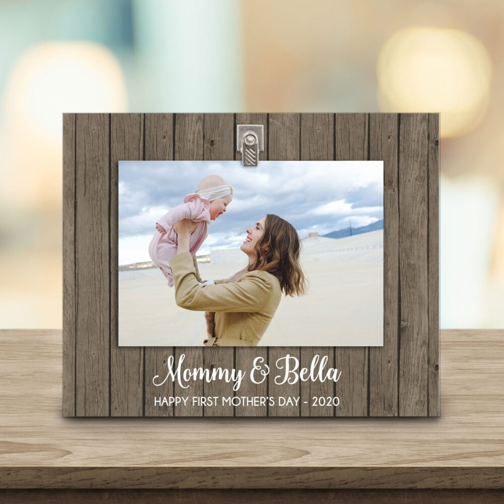 Happy First Mother's Day Frame - Rustic New Mom Gift Wife Picture Family Photo