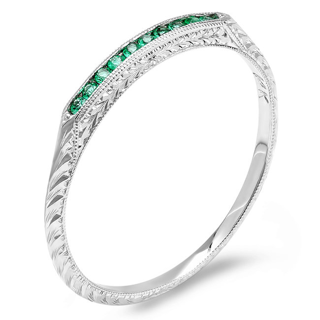 14Kt White Gold Emerald Engraved Wedding Band