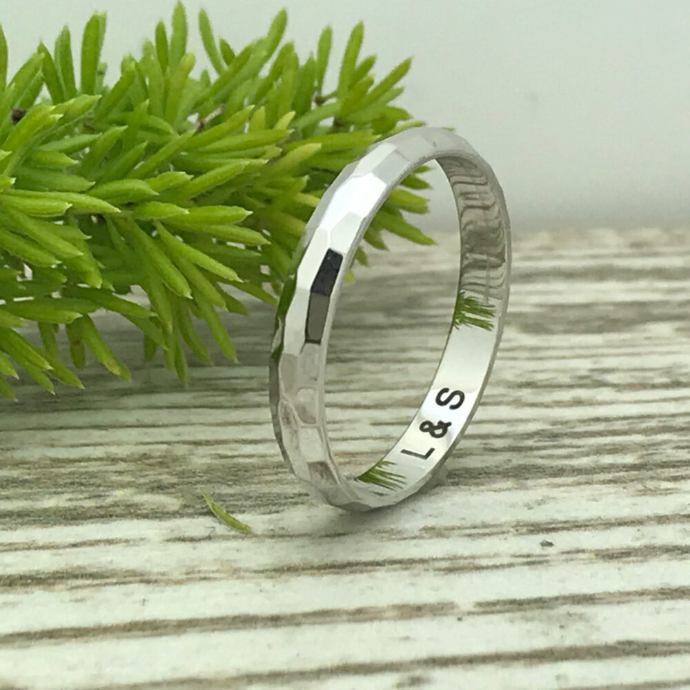 3mm Sterling Silver Wedding Band Skinny Ring Personalize Custom Engrave 925 Band, Promise Ring, Purity