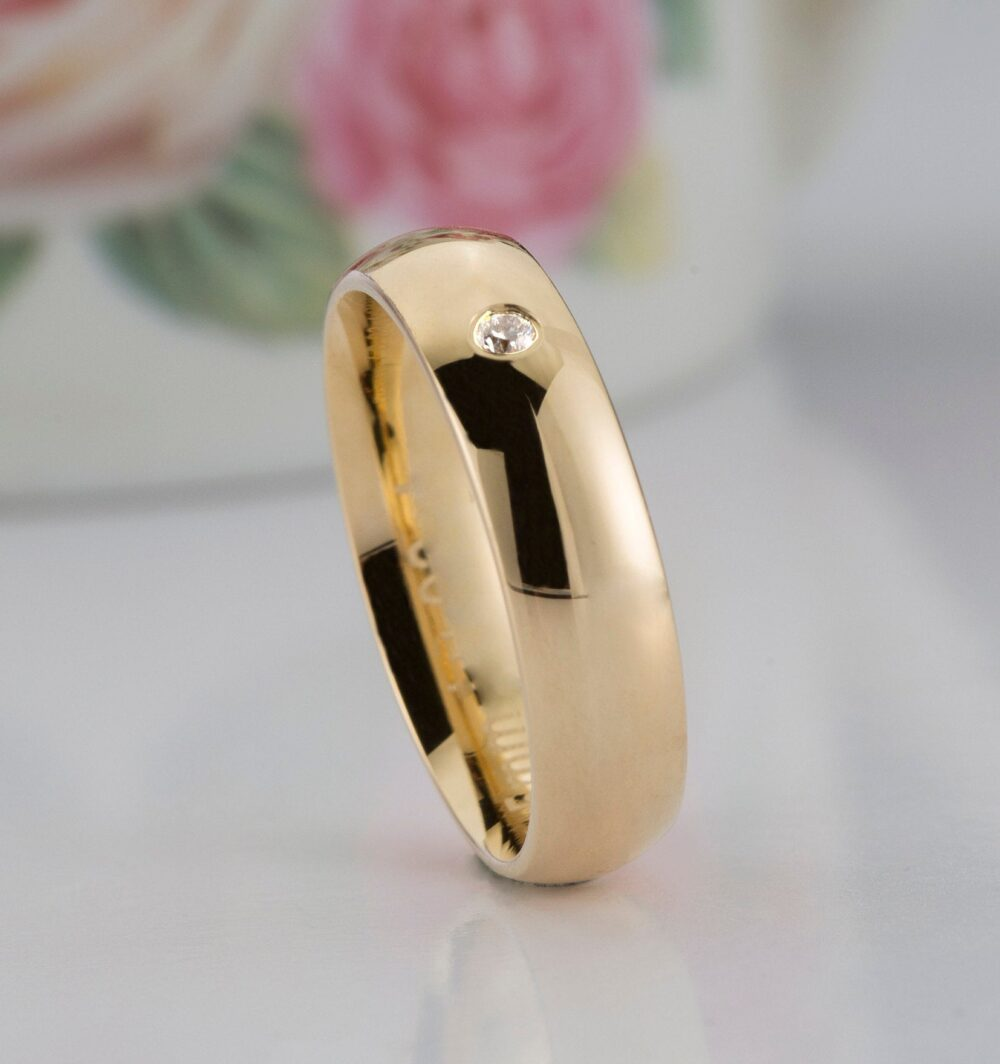 Gold Band | 5mm - Classic Dome, Polished, Comfort Fit, Men's Women's Diamond Wedding Band, Ring Set, His & Hers Bands