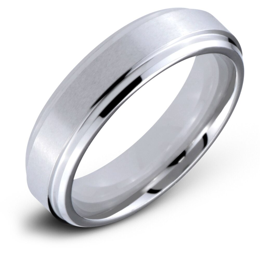 Cobalt 6mm High Polished Comfort Fit Wedding Band Ring With Round Edges & Satin Center
