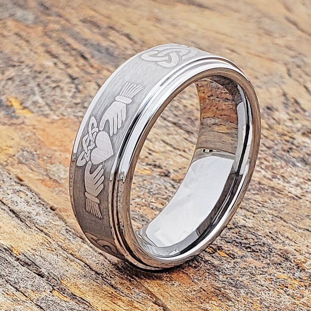 Claddagh Ring, Matte Tungsten Band, Mens Wedding Celtic Knot Brushed, Promise Flat