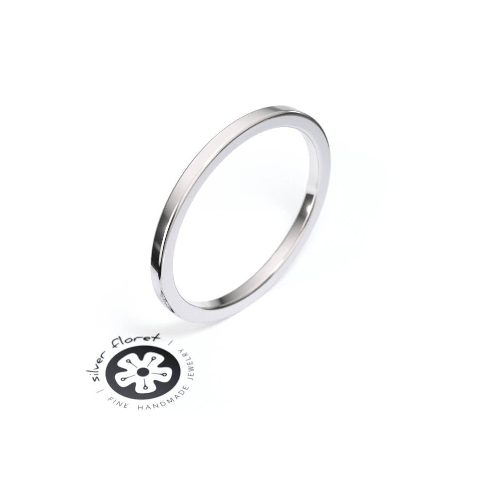 1.5mm Thin Silver Square Ring Band, Spacer, Divider, Guard, Handmade To Order