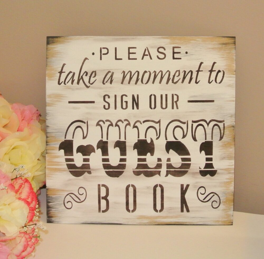 Rustic Guest Book Sign, Wedding Dark Brown Vintage Shabby Chic Rustic Country Please Sign Our Guest Book Wooden Painted