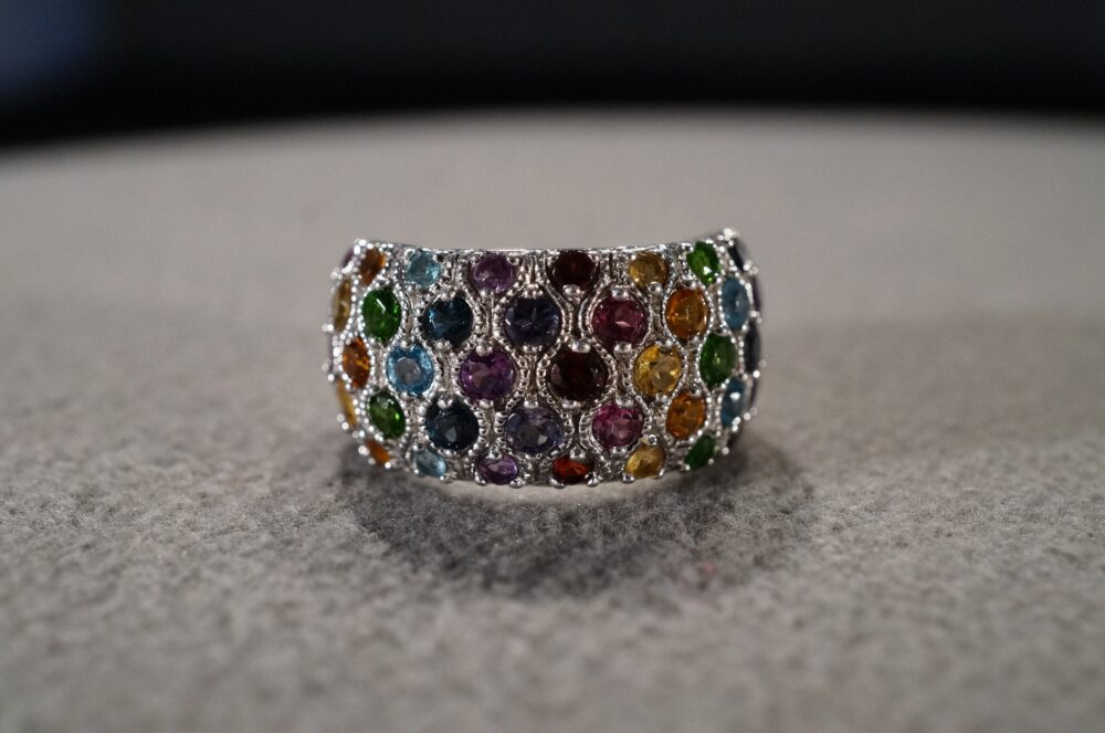 Vintage Sterling Silver Band Ring 45 Round Prong Set Citrine African Amethyst Iolite Sapphire Chrome Diopside Blue Topaz Pink Tourmaline, 8