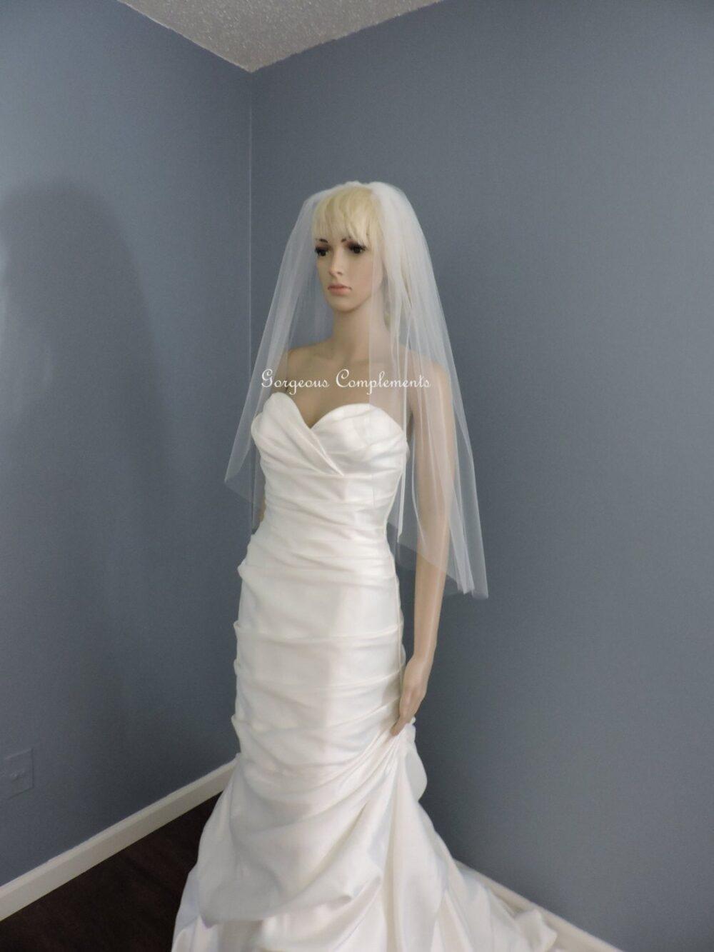 Wedding Veil Single Tier Cut Edge Hip Length Extra Fullness, Bridal 33x108Ce