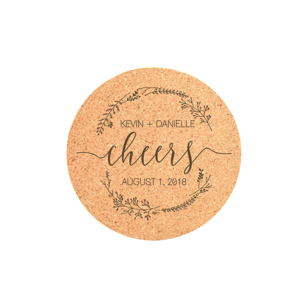 Cork Coaster Set, Engraved Coasters, Wedding Favors, Personalized Custom Set Of 4 22103-Cst1-029