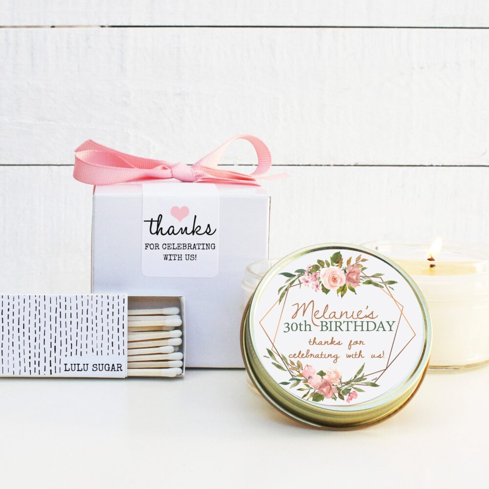 Birthday Party Favor Candles | Womens Idea Floral Milestone - Any Age