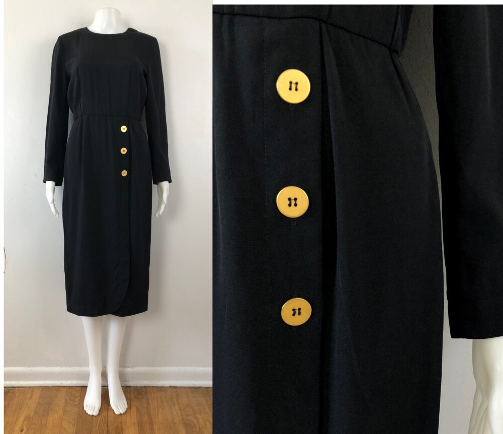 Vintage Black Sheath Dress | 90S Military Style Long Sleeve With Gold Buttons Womens Size Xs