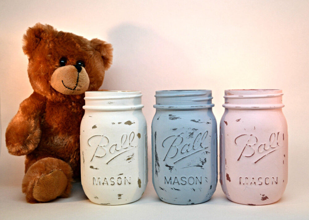Baby Shower Jars Antique White, Blue, Pink, /Wedding Favors/Centerpieces, Set Of | 3 Three, Painted Rustic Mason Jar, Distressed Jars