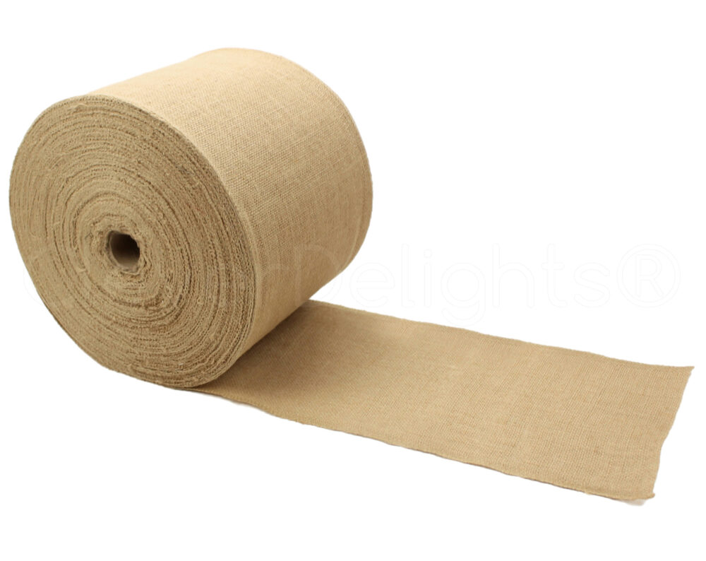 "100 Yards - 6"" Premium Burlap Roll Finished Edges Eco-Friendly Natural Jute Fabric For 6 Inch Table Runners & Rustic Decor"