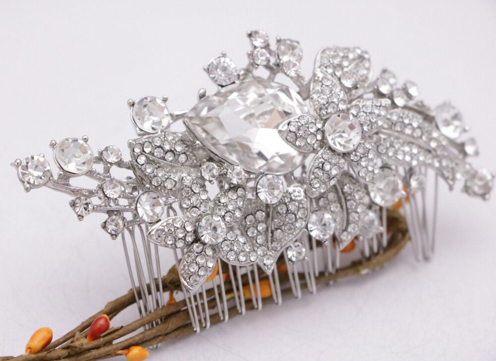 Wedding Hair Comb Floral Side Comb Silver Bridal Vintage Style Bridal Jewelry Rhinestone Boho Haircomb