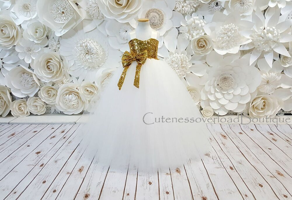 Off White Girl Dress-Off Flower Tutu Bride Wedding Baby Dress
