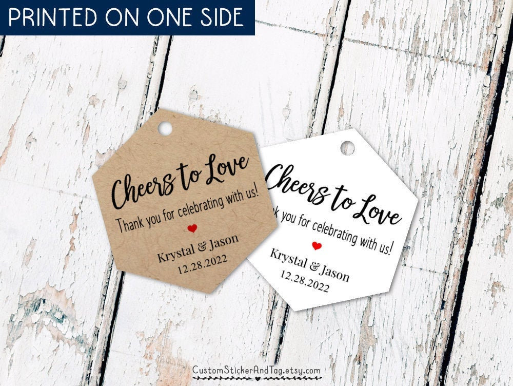 Cheers To Love, Thank You For Celebrating With Us, Wedding Tags Favors, Mini Champagne Or Wine Tags, Hexagon Hang Tag | T-69