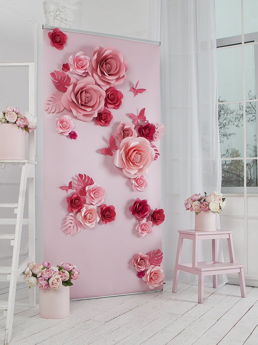 Wedding Paper Flowers Backdrop - Flower Wall