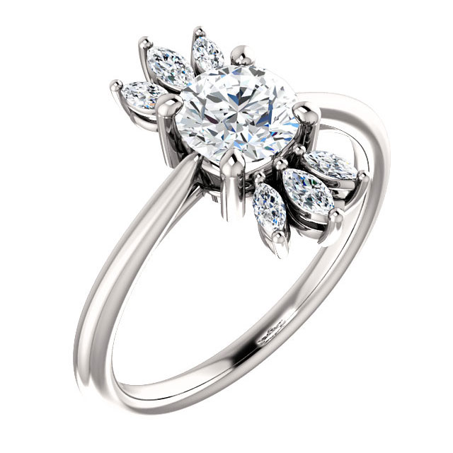 Cubic Zirconia Marquise Petal CZ Ring in 14K White Gold