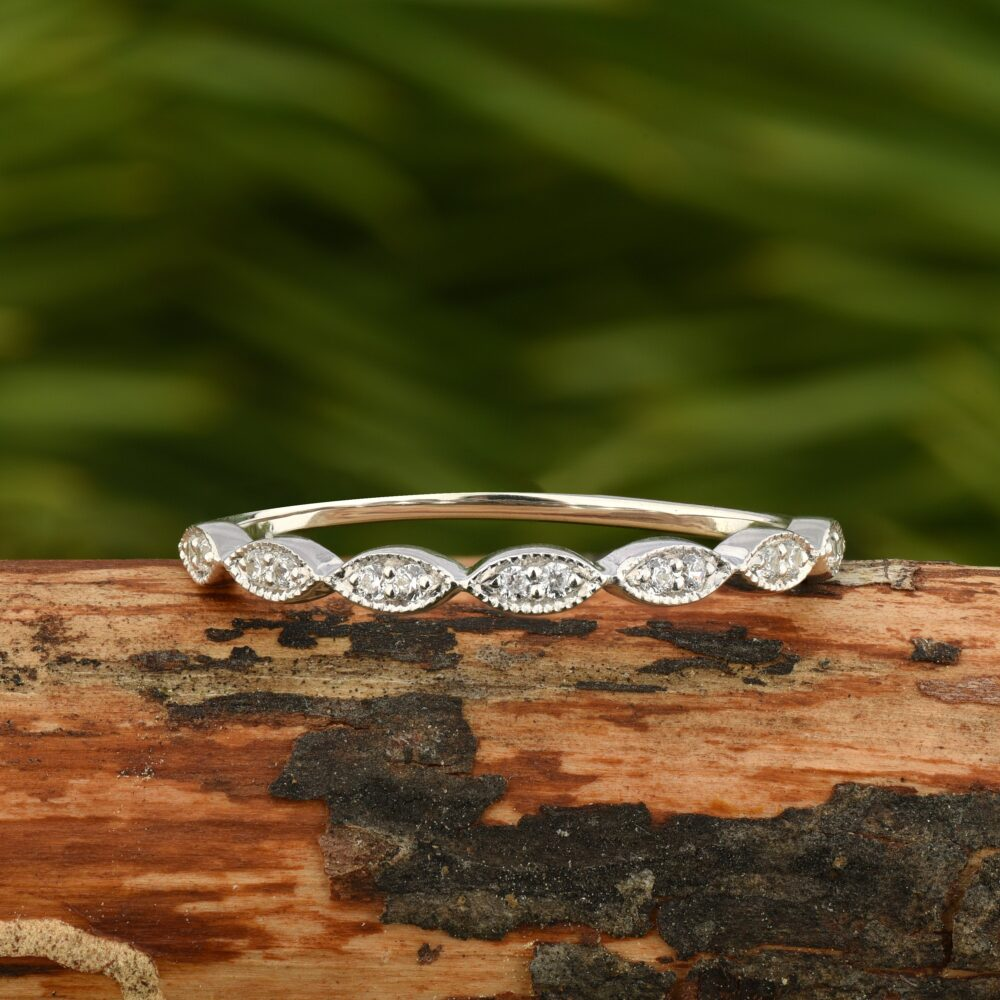 Wedding Band Women With Cz, Marquise Cluster Ring, Dainty Ring in 925 Sterling Silver
