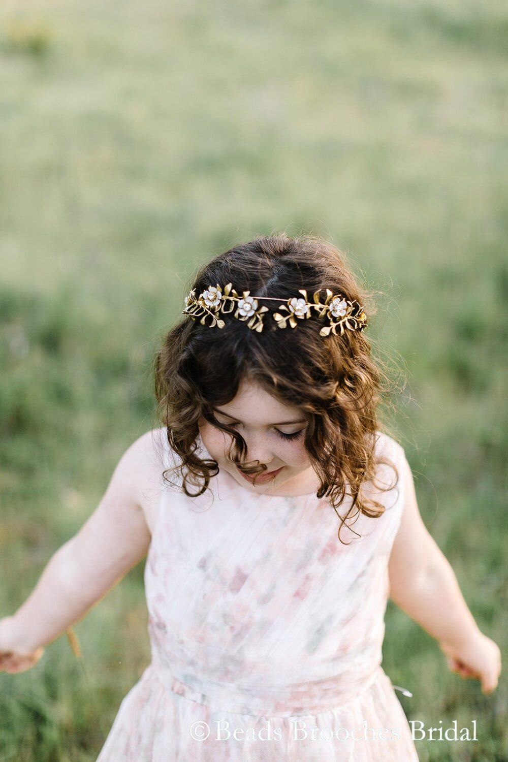 Flower Girl Headband | Crown Girl Halo Girls Wedding Gold Leaf