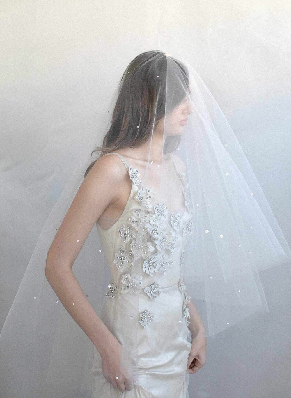 Pearl Wedding Veil Rhinestone Beaded Cathedral With Blusher 108 Inch Drop Bridal Light Ivory Long 2 Tier Clear Comb